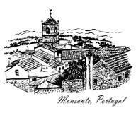 Dessin d'une vue de hôtel de ville avec une horloge dans le village étonnant de Monsanto, Portugal, graphique v d'encre Image libre de droits