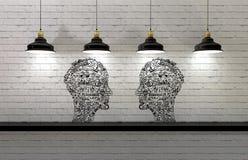 Dessin dans la forme de la tête de l'homme avec des lampes ci-dessus Images stock
