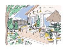 Dessin de dessin à main levée du patio ou de la terrasse d'arrière-cour meublée dans le style scandinave de hygge Véranda de Cham illustration stock