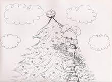 Dessin de Bunny Rabbit Decorating Christmas Tree doux, 2018 illustration de vecteur