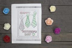 Dessin de Childs avec les fleurs multicolores Jour de pères Images libres de droits