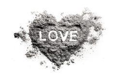 Dessin de coeur d'amour en cendre Image stock