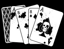 Dessin de concept 'de la main du Deadman,' une paire d'as et Eights Photos stock