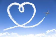 Dessin de concept de nuage d'amour par le jet Photo libre de droits