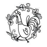 Dessin de coq avec le cadre de fleur, illustration d'isolement Photographie stock