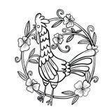 Dessin de coq avec le cadre de fleur, illustration d'isolement photo stock