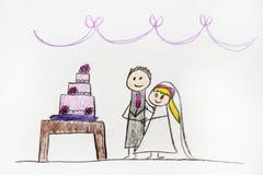 Dessin de couples de mariage image libre de droits