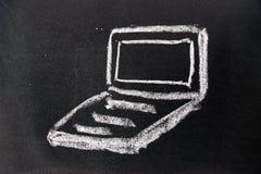 Dessin de craie blanc comme forme de carnet sur le fond noir de conseil image stock