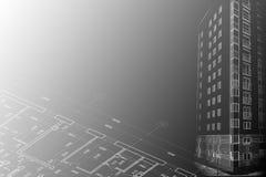 Dessin de croquis architectural de fond Photographie stock libre de droits