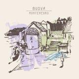 Dessin de croquis d'encre de sépia de tour historique dans Budva Monténégro illustration stock