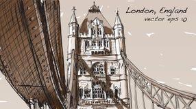 Dessin de croquis dans le pont de tour d'exposition de Londres Angleterre dans le ton de sépia Photographie stock libre de droits