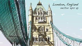 Dessin de croquis dans le pont de tour d'exposition de Londres Angleterre, illustration Photos libres de droits