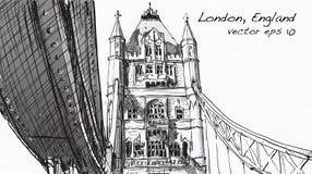 Dessin de croquis dans le pont de tour d'exposition de Londres Angleterre, illustration Photo stock