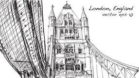 Dessin de croquis dans le pont de tour d'exposition de Londres Angleterre, illustration Images libres de droits
