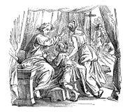 Dessin de cru de vieil homme donnant la bénédiction au garçon, l'histoire biblique au sujet d'Issac, le Jacob et l'Esau illustration stock