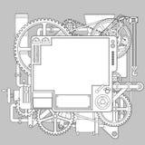 Dessin de découpe de la machine fantastique complexe blanche illustration de vecteur