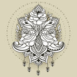 Dessin de dessin à main levée des roses dans le style est Photo stock