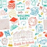 Dessin de dessin à main levée sans couture de modèle de couleur des fournitures scolaires illustration libre de droits