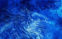Dessin de dragon ornemental collage d'ordinateur et structure bleue de couleur Effet d'hiver illustration de vecteur