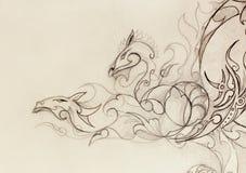 Dessin de dragon ornemental sur le vieux fond de papier illustration libre de droits