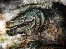 Dessin de fusain d'un dragon féroce Image libre de droits