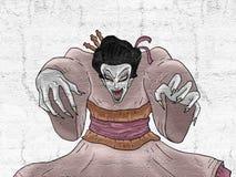 Dessin de geisha de démon Photographie stock