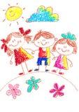 Dessin de gosses kindergarten école Enfants heureux à la cour de jeu Illustration de crayon De nouveau à l'image d'école illustration de vecteur