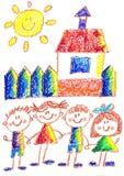 Dessin de gosses kindergarten école Enfants heureux à la cour de jeu Illustration de crayon De nouveau à l'image d'école illustration libre de droits