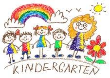 Dessin de gosses kindergarten école Enfants heureux avec le professeur Été et arc-en-ciel, fleur Illustration de crayon illustration stock