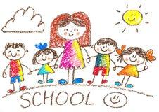 Dessin de gosses kindergarten école Enfants heureux avec le professeur Illustration de crayon De nouveau à l'image d'école illustration de vecteur