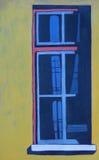 Dessin de gouache de fenêtre sur le mur jaune Photos stock
