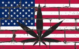 Dessin de jet d'art de rue de graffiti sur le pochoir Feuille de cannabis sur le mur de briques avec le drapeau Etats-Unis illustration de vecteur