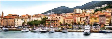 Dessin de la côte de la Corse, Ajaccio Panorama photos stock
