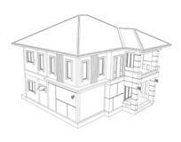 Dessin de la construction individuelle 3D Photos stock