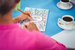 Dessin de lion sur une feuille d'un papier avec deux tasses de café Photos stock