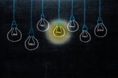 Dessin de main avec l'idée de lumière d'ampoule concept de grand inspirat d'idées photographie stock