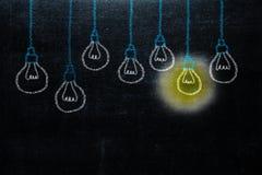 Dessin de main avec l'idée de lumière d'ampoule concept de grand inspirat d'idées image stock