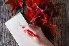 Dessin de main avec le stylo et le carnet Images libres de droits