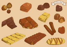 Dessin de main de chocolat, illustration de vecteur Images libres de droits