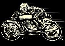 Dessin de main de moto de vintage d'équitation de crâne illustration stock