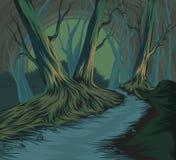 Dessin de main de scène de forêt illustration libre de droits