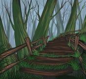 Dessin de main de scène de forêt illustration de vecteur