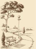 Dessin de main de parc de ville illustration stock