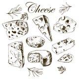 Dessin de main réglé avec différents fromages Photo libre de droits