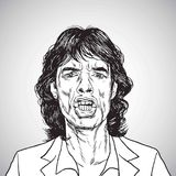 Dessin de Mick Jagger Portrait Hand Drawn Caricature de vecteur 31 octobre 2017 illustration libre de droits