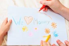 Dessin de père et de fils actuel pour la mère Image libre de droits