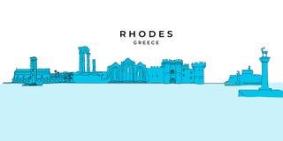 Dessin de panorama de Rhodes Greece illustration stock