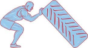 Dessin de séance d'entraînement de Pushing Back Tire d'athlète de forme physique illustration libre de droits