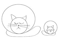 Dessin de simplicité, chat et minou détendant, yeux fermés illustration stock
