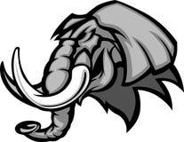 Dessin de tête de mascotte d'éléphant Image libre de droits